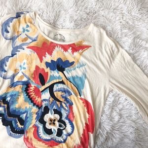 LUCKY BRAND cream+floral 3/4 sleeve light top